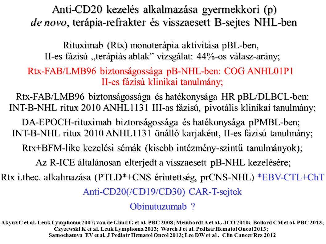 Rtx D -2 D 0 A FAB/LMB 96 és a COG ANHL01P1 tanulmányok kezelési sémája Gerrard M et al Blood2013 Goldman S et al.