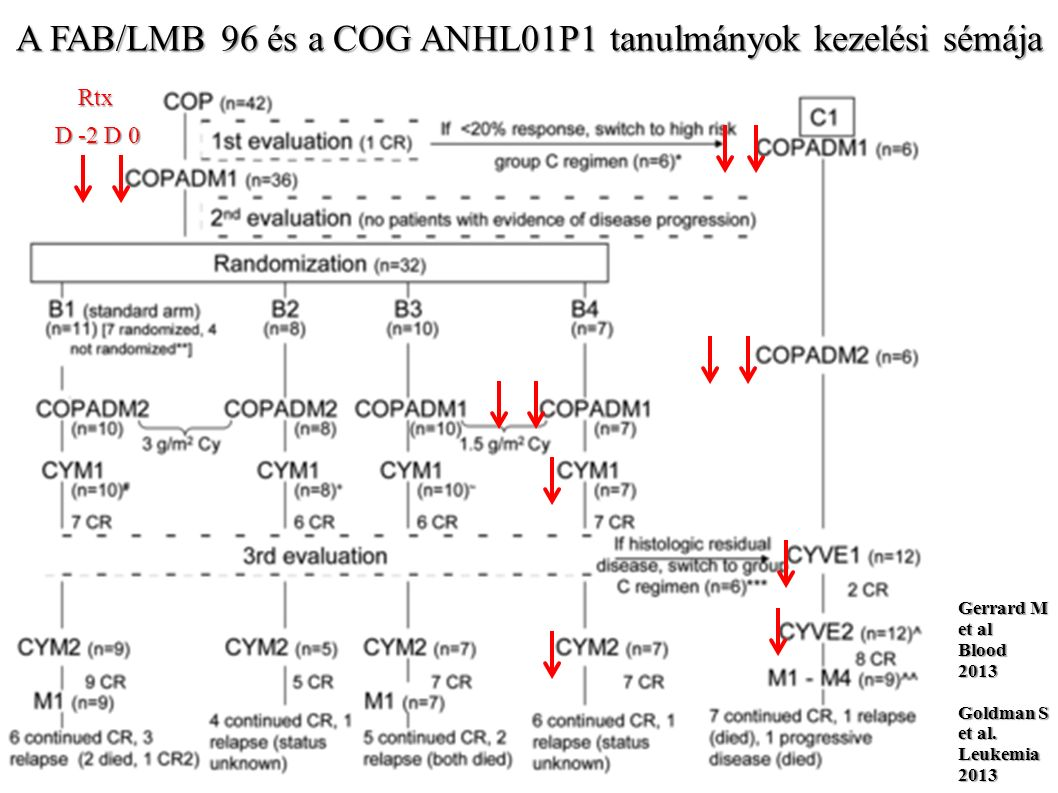 III/IV stádiumú pB-NHL kórlefolyása a FAB/LMB 96 és a COG ANHL01P1 tanulmányok szerint Felnőttkori III/IV stádiumú DLBCL 10-é PFS aránya 6X R-CHOP kezeléssel: 37% Shiramizu B et al.