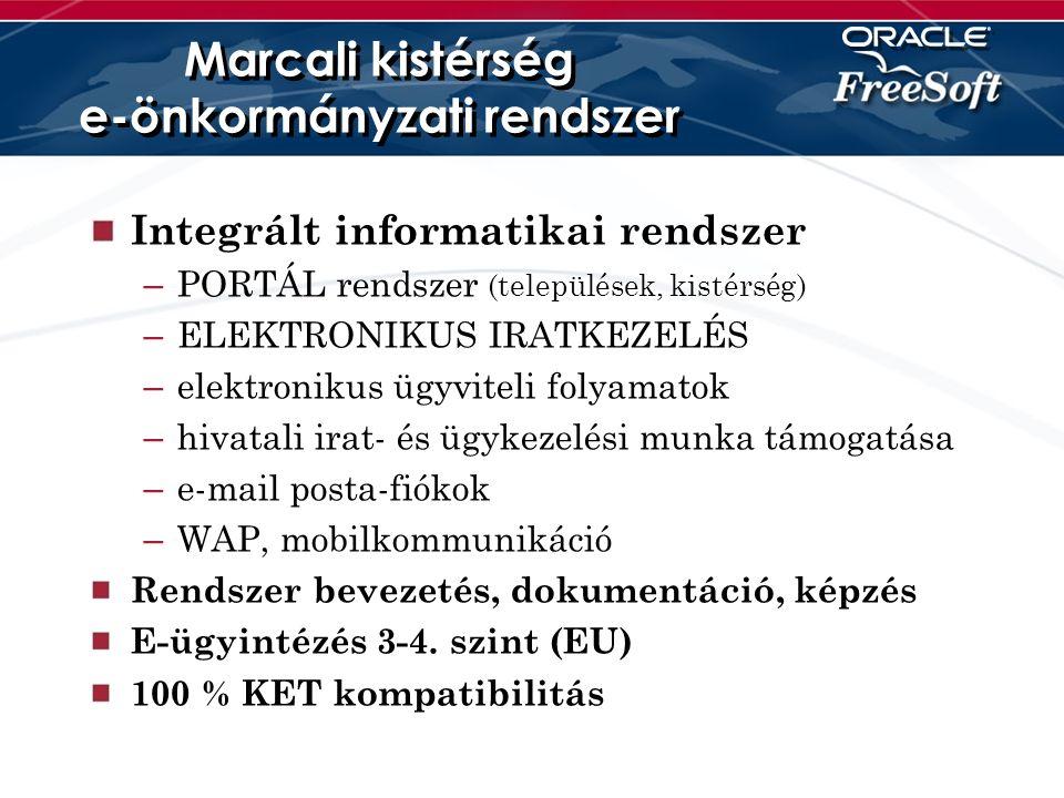 Marcali kistérség e-önkormányzati rendszer Integrált informatikai rendszer – PORTÁL rendszer (települések, kistérség) – ELEKTRONIKUS IRATKEZELÉS – elektronikus ügyviteli folyamatok – hivatali irat- és ügykezelési munka támogatása – e-mail posta-fiókok – WAP, mobilkommunikáció Rendszer bevezetés, dokumentáció, képzés E-ügyintézés 3-4.