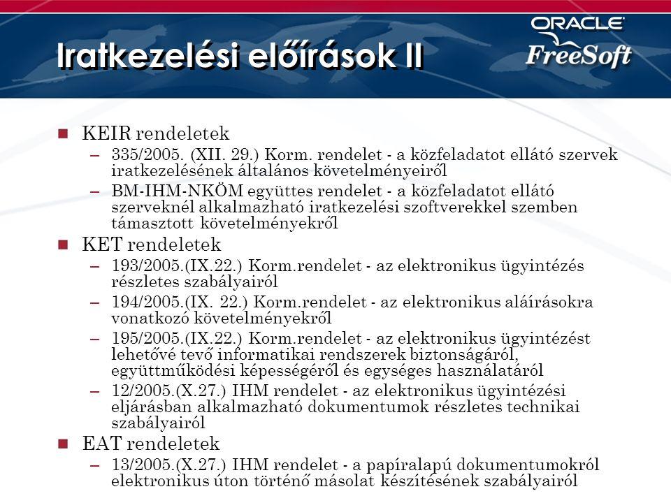 Iratkezelési előírások II KEIR rendeletek – 335/2005.