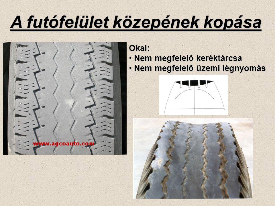 A futófelület közepének kopása Okai: Nem megfelelő keréktárcsa Nem megfelelő üzemi légnyomás Nem megfelelő üzemi légnyomás
