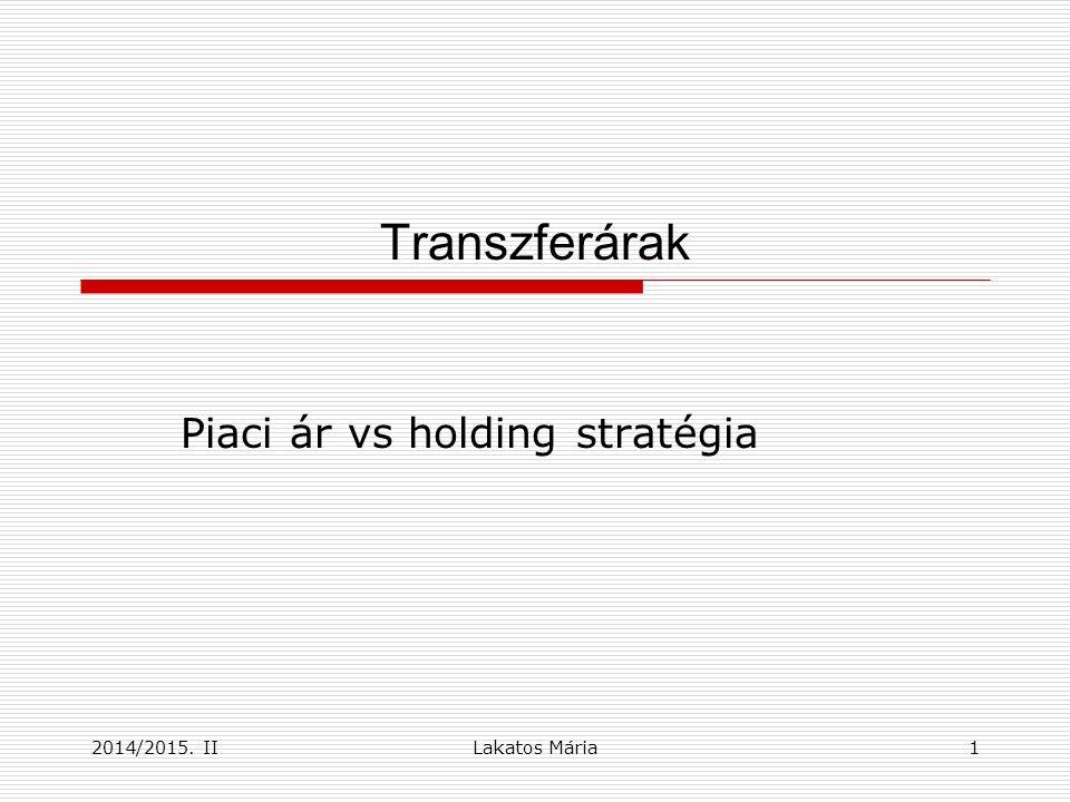 Transzferárak Piaci ár vs holding stratégia 12014/2015. IILakatos Mária