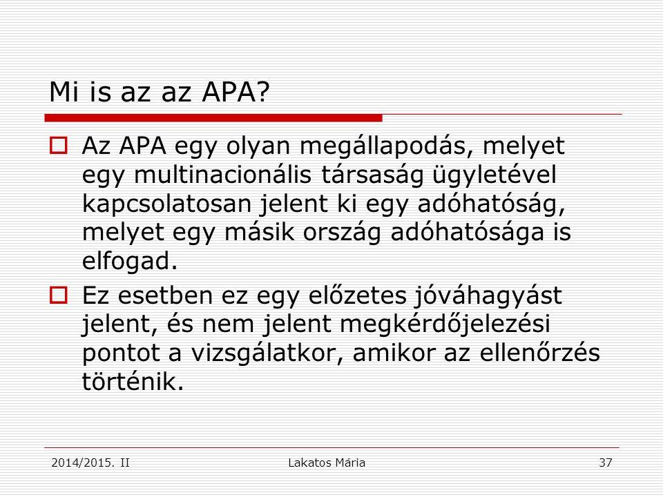 37 Mi is az az APA.