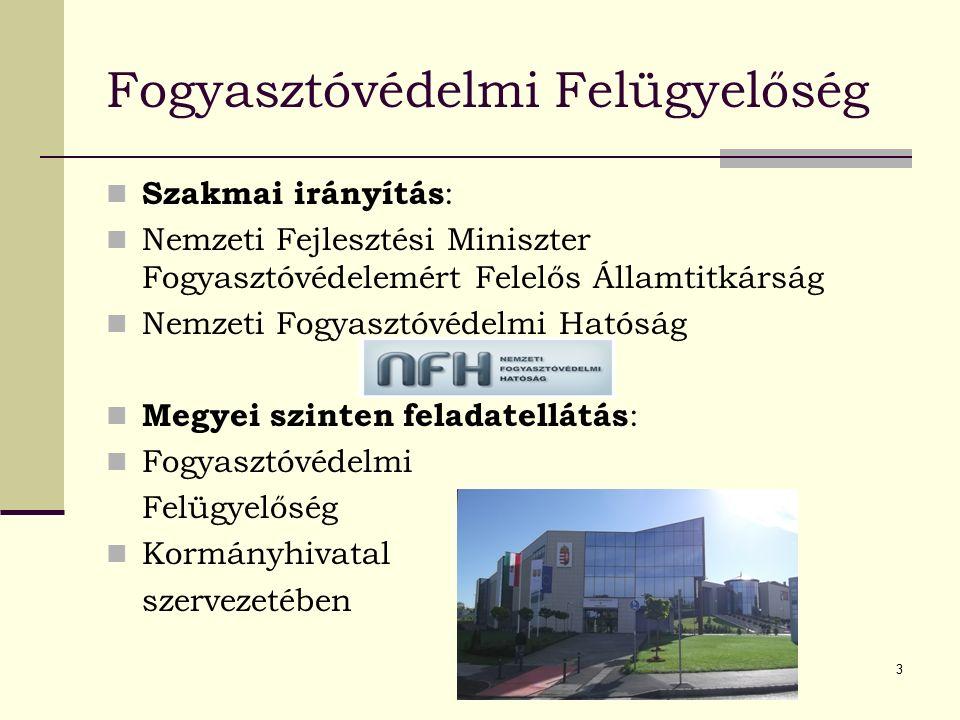3 Fogyasztóvédelmi Felügyelőség Szakmai irányítás : Nemzeti Fejlesztési Miniszter Fogyasztóvédelemért Felelős Államtitkárság Nemzeti Fogyasztóvédelmi Hatóság Megyei szinten feladatellátás : Fogyasztóvédelmi Felügyelőség Kormányhivatal szervezetében