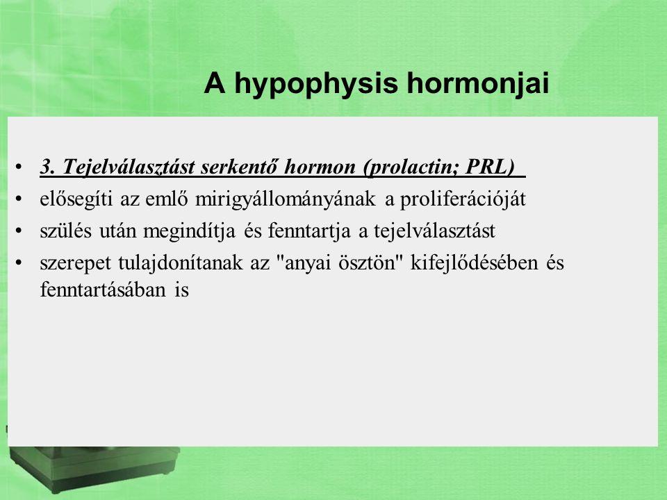 A hypophysis hormonjai 3. Tejelválasztást serkentő hormon (prolactin; PRL) elősegíti az emlő mirigyállományának a proliferációját szülés után megindít