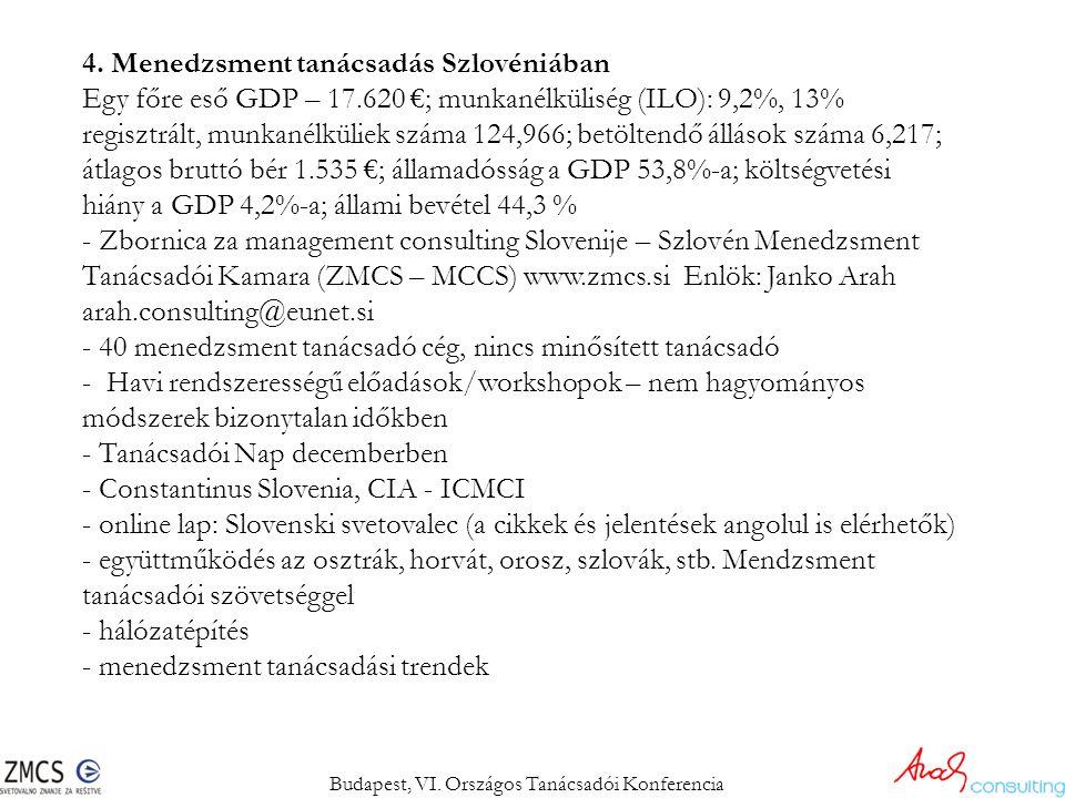 4. Menedzsment tanácsadás Szlovéniában Egy főre eső GDP – 17.620 €; munkanélküliség (ILO): 9,2%, 13% regisztrált, munkanélküliek száma 124,966; betölt