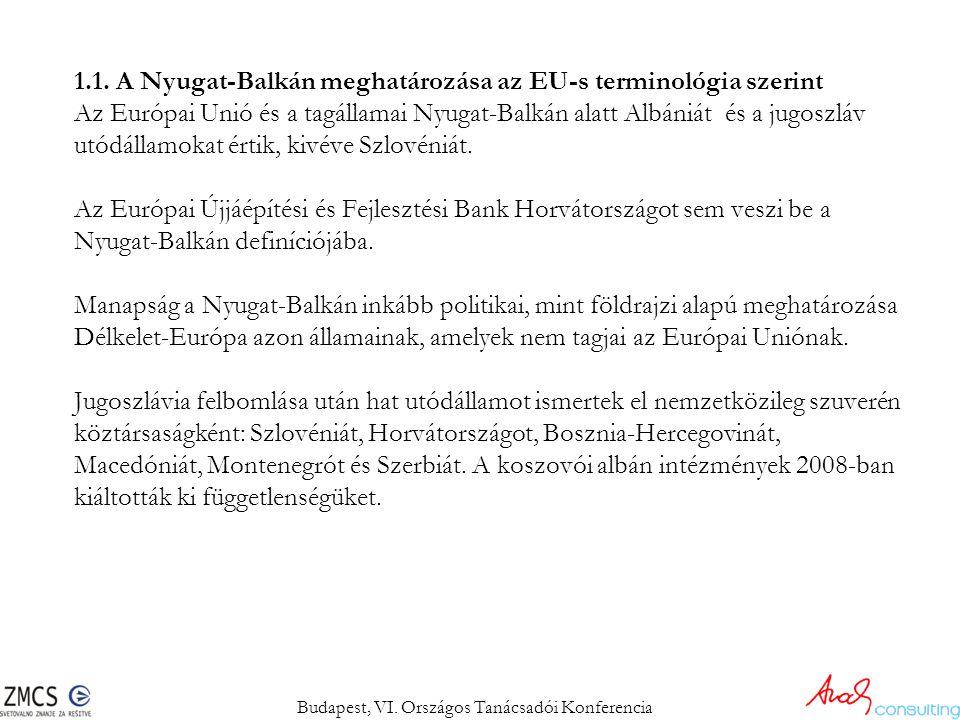 1.1. A Nyugat-Balkán meghatározása az EU-s terminológia szerint Az Európai Unió és a tagállamai Nyugat-Balkán alatt Albániát és a jugoszláv utódállamo
