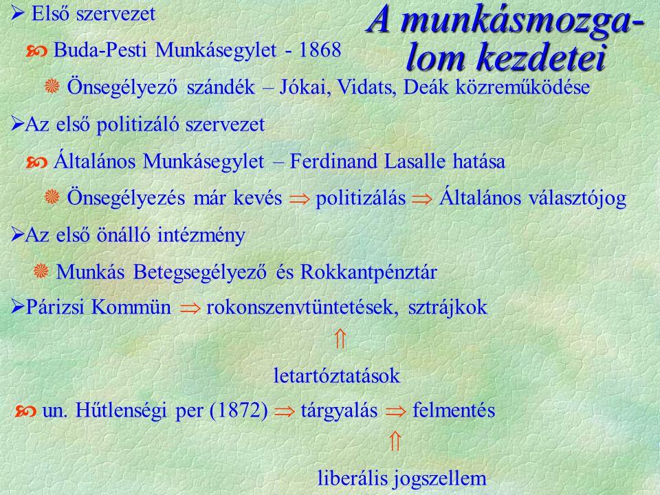  Első szervezet  Buda-Pesti Munkásegylet - 1868  Önsegélyező szándék – Jókai, Vidats, Deák közreműködése  Az első politizáló szervezet  Általános