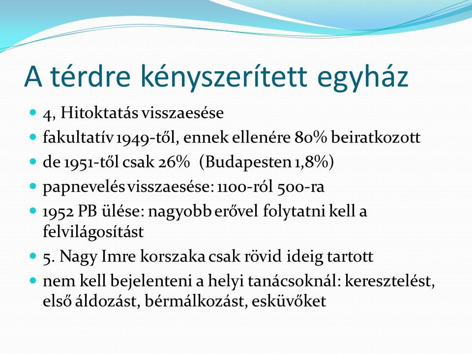 A térdre kényszerített egyház 4, Hitoktatás visszaesése fakultatív 1949-től, ennek ellenére 80% beiratkozott de 1951-től csak 26% (Budapesten 1,8%) pa