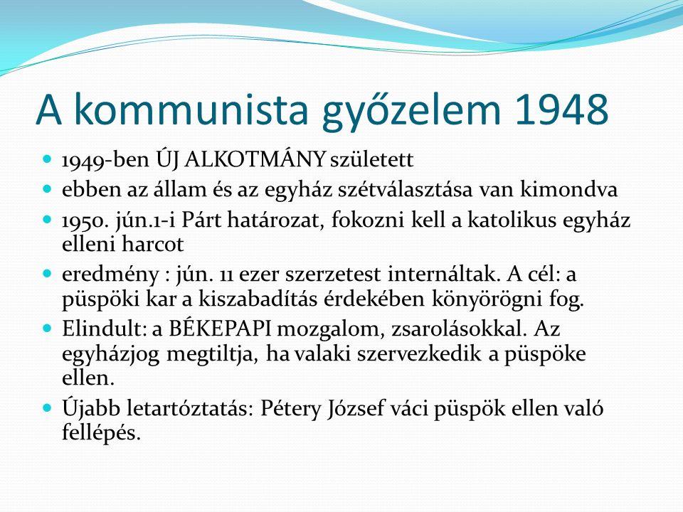 """1956-os forradalom után a """"régi folytatódik 4, 1957-ben létrehozták: lojális papokból az Országos Béketanács katolikus bizottságát, külső szemmel úgy tűnt, mintha papok hozták volna létre, de az MSZMP kényszerítette a papságot erre."""