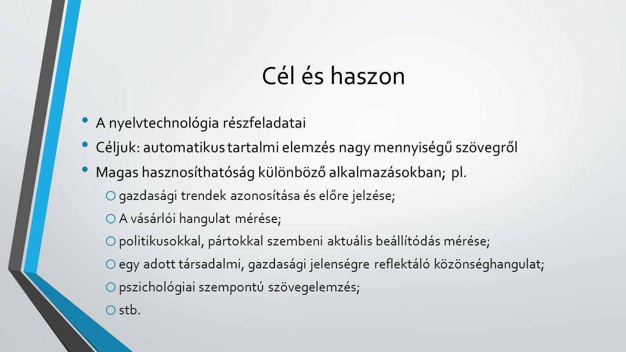 Cél és haszon A nyelvtechnológia részfeladatai Céljuk: automatikus tartalmi elemzés nagy mennyiségű szövegről Magas hasznosíthatóság különböző alkalmazásokban; pl.