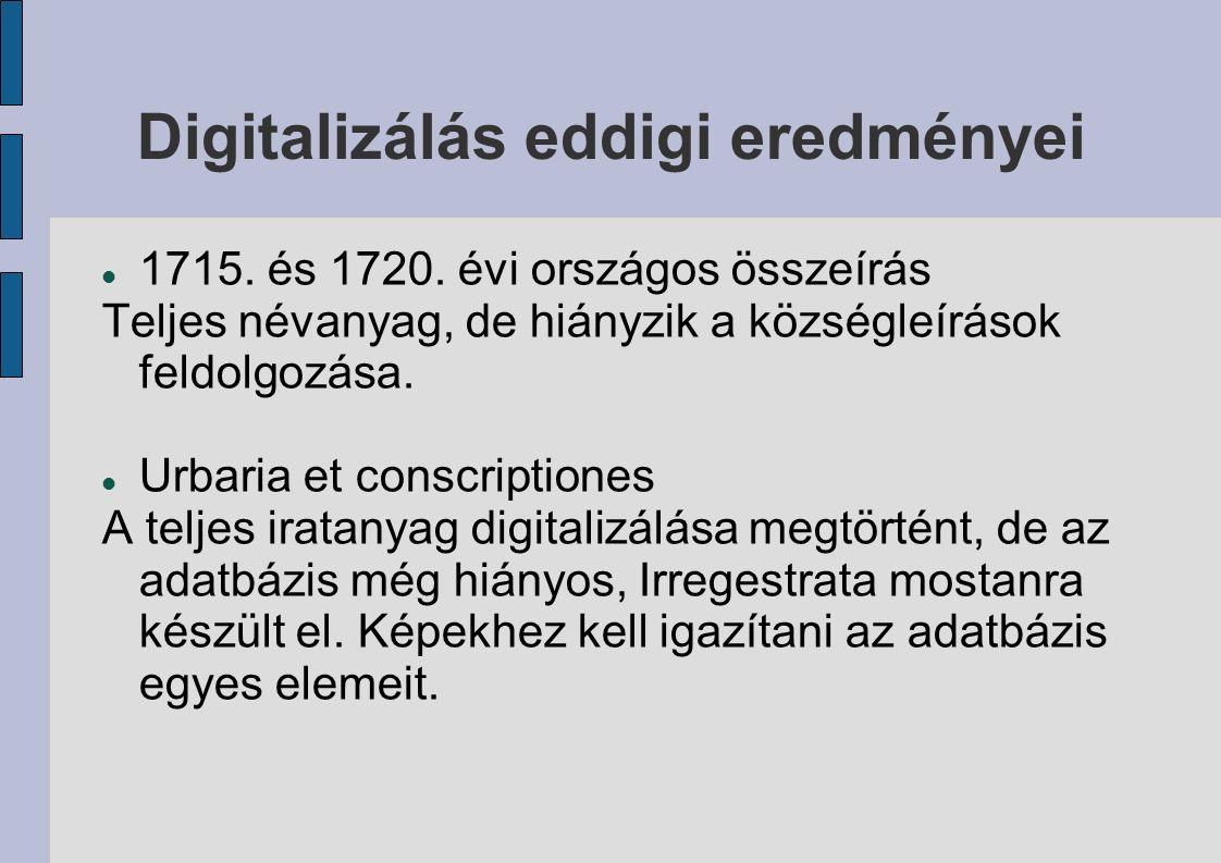 Új adatbázisok Kamarai dézsmaösszeírások adatbázisának kiegészítése a teljes helynévi anyaggal.