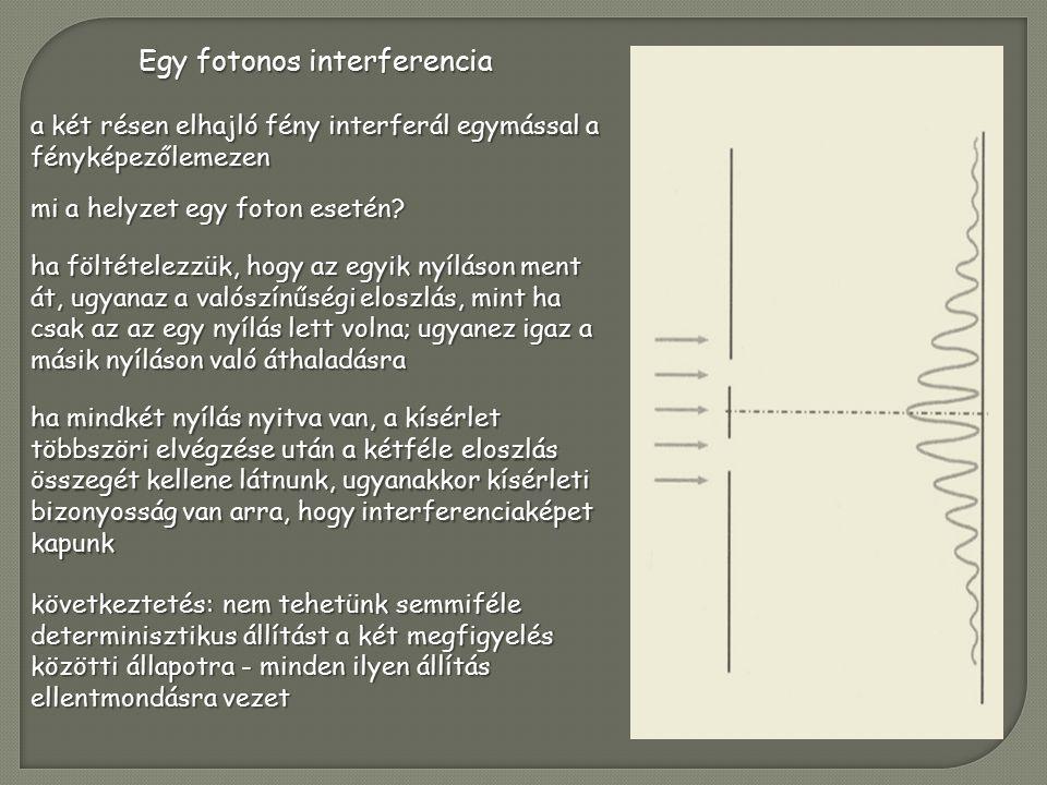 Egy fotonos interferencia a két résen elhajló fény interferál egymással a fényképezőlemezen mi a helyzet egy foton esetén.