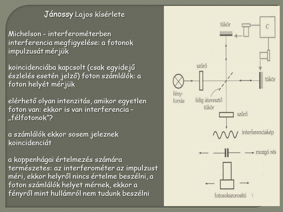 """Jánossy Lajos kísérlete Michelson - interferométerben interferencia megfigyelése: a fotonok impulzusát mérjük koincidenciába kapcsolt (csak egyidejű észlelés esetén jelző) foton számlálók: a foton helyét mérjük elérhető olyan intenzitás, amikor egyetlen foton van: ekkor is van interferencia – """"félfotonok ."""