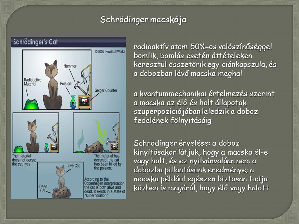Schrödinger macskája radioaktív atom 50%-os valószínűséggel bomlik, bomlás esetén áttételeken keresztül összetörik egy ciánkapszula, és a dobozban lévő macska meghal a kvantummechanikai értelmezés szerint a macska az élő és holt állapotok szuperpozíciójában leledzik a doboz fedelének fölnyitásáig Schrödinger érvelése: a doboz kinyitásakor látjuk, hogy a macska él-e vagy holt, és ez nyilvánvalóan nem a dobozba pillantásunk eredménye; a macska például egészen biztosan tudja közben is magáról, hogy élő vagy halott