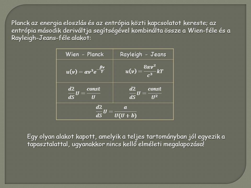Planck az energia eloszlás és az entrópia közti kapcsolatot kereste; az entrópia második deriváltja segítségével kombinálta össze a Wien-féle és a Rayleigh-Jeans-féle alakot: Egy olyan alakot kapott, amelyik a teljes tartományban jól egyezik a tapasztalattal, ugyanakkor nincs kellő elméleti megalapozása!