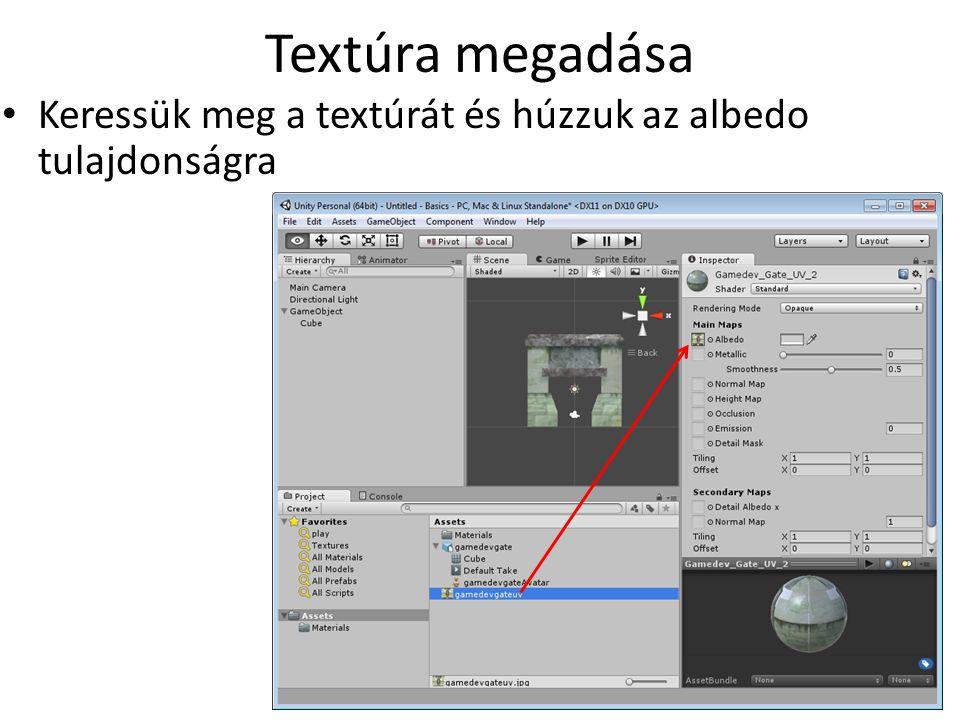 Textúra megadása Keressük meg a textúrát és húzzuk az albedo tulajdonságra