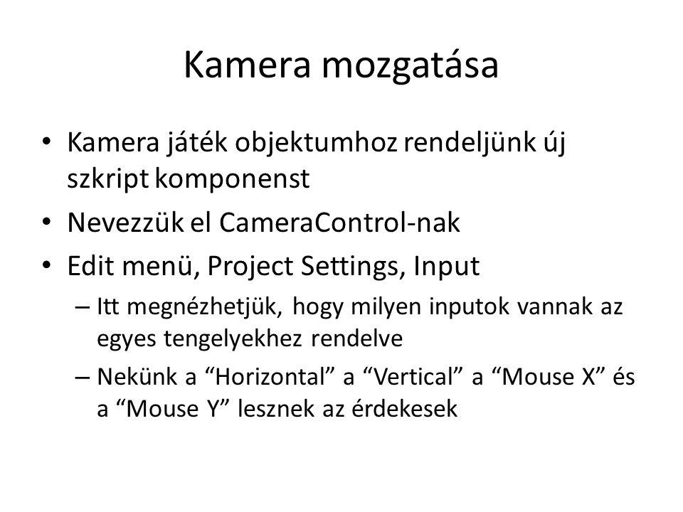 Kamera mozgatása Kamera játék objektumhoz rendeljünk új szkript komponenst Nevezzük el CameraControl-nak Edit menü, Project Settings, Input – Itt megnézhetjük, hogy milyen inputok vannak az egyes tengelyekhez rendelve – Nekünk a Horizontal a Vertical a Mouse X és a Mouse Y lesznek az érdekesek