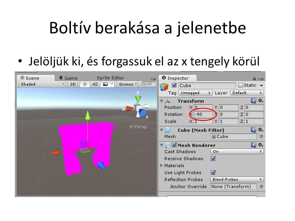 Animált objektum Adjunk a kalapácshoz egy szkriptet (HammerAnimator névvel) (Az eredeti Animator típusú komponensét le is törölhetjük) Szkript kódja: public class HammerAnimator : MonoBehaviour { public float rotateSpeed = 300.0f; void Update () { float dt = Time.deltaTime; transform.Rotate(Vector3.up * dt * rotateSpeed); }