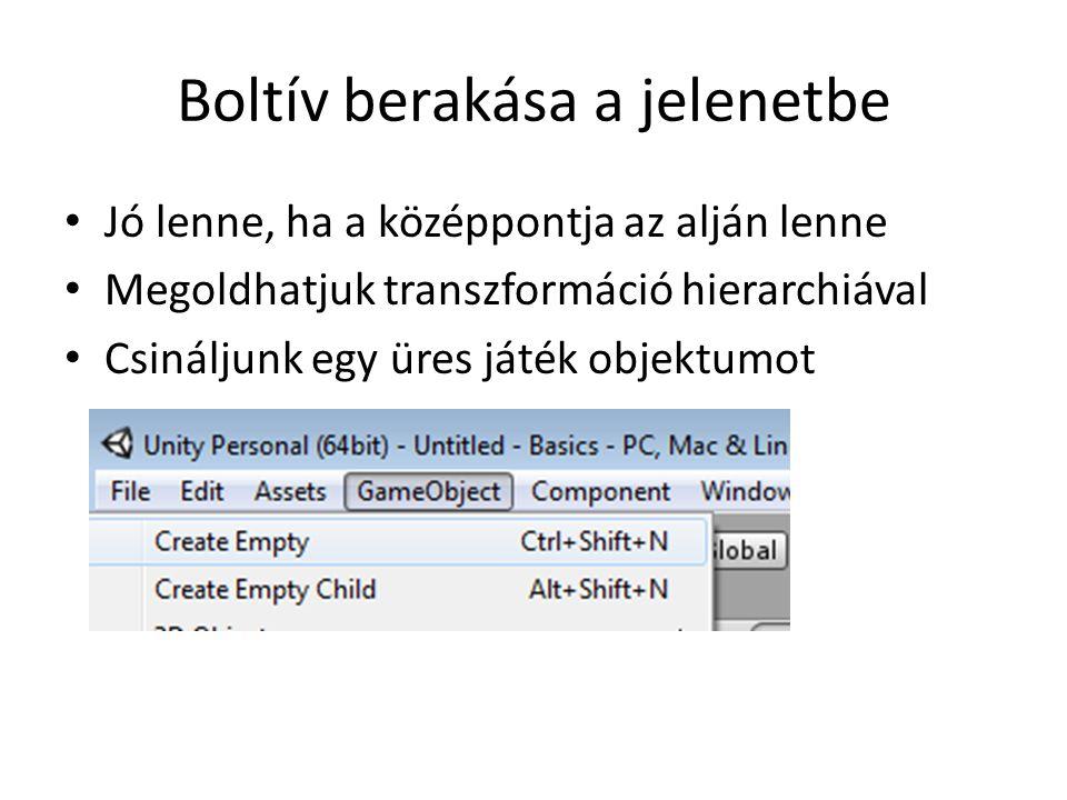 Generáló szkript public class LevelGenerator : MonoBehaviour { public Transform gatePrefab; void Start () { for (int i = 0; i < 10; ++i) { Transform newgate = GameObject.Instantiate(gatePrefab); newgate.transform.Translate(new Vector3(0,0, -20 + 4* i)); }