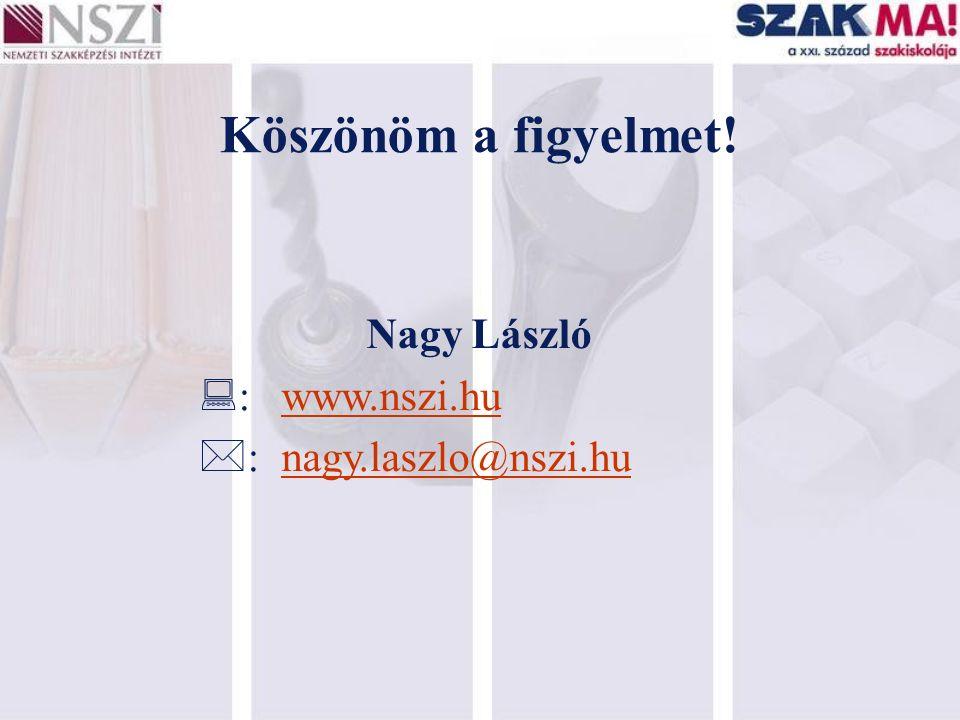 Köszönöm a figyelmet! Nagy László  :www.nszi.hu  :nagy.laszlo@nszi.hu