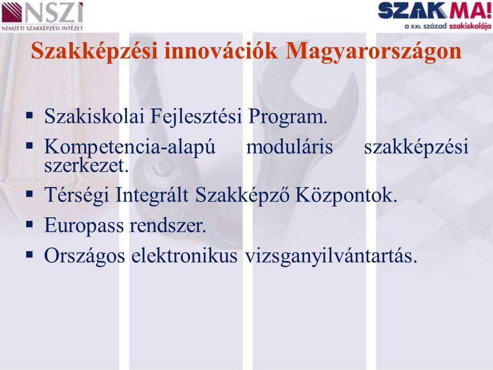 Szakképzési innovációk Magyarországon  Szakiskolai Fejlesztési Program.  Kompetencia-alapú moduláris szakképzési szerkezet.  Térségi Integrált Szak
