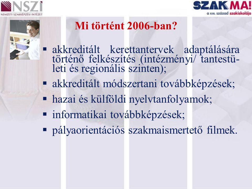 Mi történt 2006-ban?  akkreditált kerettantervek adaptálására történő felkészítés (intézményi/ tantestü- leti és regionális szinten);  akkreditált m