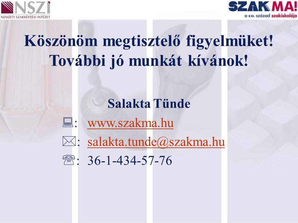 Köszönöm megtisztelő figyelmüket! További jó munkát kívánok! Salakta Tünde  :www.szakma.hu  :salakta.tunde@szakma.hu  :36-1-434-57-76
