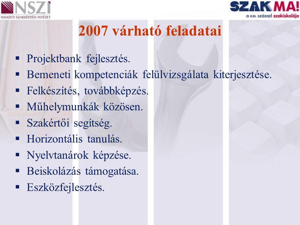 2007 várható feladatai  Projektbank fejlesztés.  Bemeneti kompetenciák felülvizsgálata kiterjesztése.  Felkészítés, továbbképzés.  Műhelymunkák kö