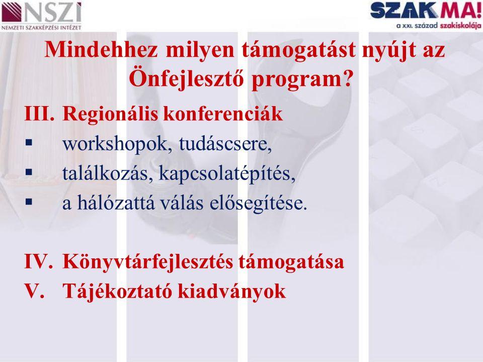 Mindehhez milyen támogatást nyújt az Önfejlesztő program? III.Regionális konferenciák  workshopok, tudáscsere,  találkozás, kapcsolatépítés,  a hál