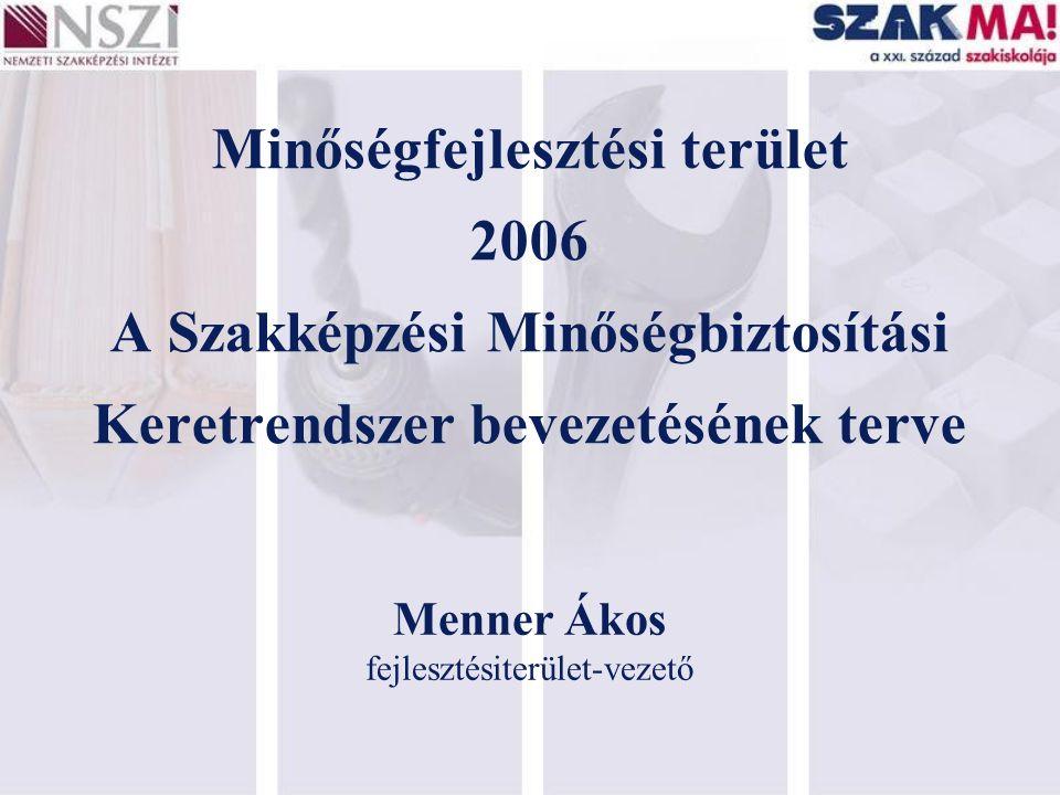Minőségfejlesztési terület 2006 A Szakképzési Minőségbiztosítási Keretrendszer bevezetésének terve Menner Ákos fejlesztésiterület-vezető
