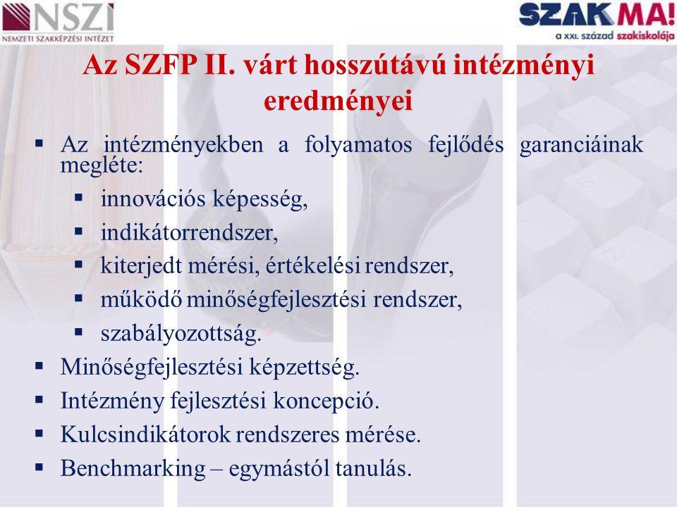 Az SZFP II. várt hosszútávú intézményi eredményei  Az intézményekben a folyamatos fejlődés garanciáinak megléte:  innovációs képesség,  indikátorre