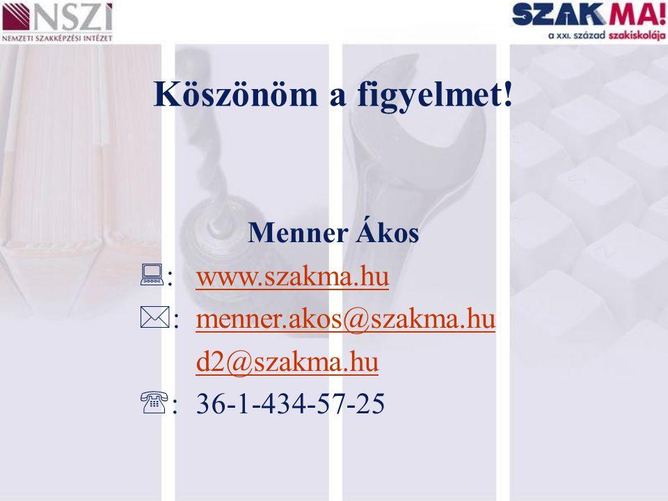 Köszönöm a figyelmet! Menner Ákos  :www.szakma.hu  :menner.akos@szakma.hu d2@szakma.hu  :36-1-434-57-25