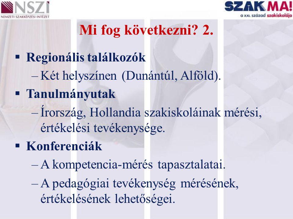 Mi fog következni? 2.  Regionális találkozók –Két helyszínen (Dunántúl, Alföld).  Tanulmányutak –Írország, Hollandia szakiskoláinak mérési, értékelé