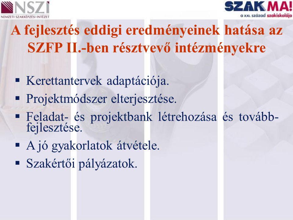 A fejlesztés eddigi eredményeinek hatása az SZFP II.-ben résztvevő intézményekre  Kerettantervek adaptációja.