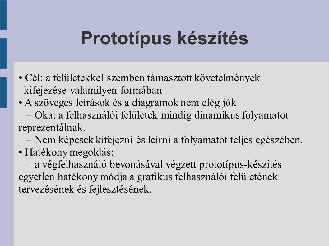 Prototípus készítés Cél: a felületekkel szemben támasztott követelmények kifejezése valamilyen formában A szöveges leírások és a diagramok nem elég jók – Oka: a felhasználói felületek mindig dinamikus folyamatot reprezentálnak.