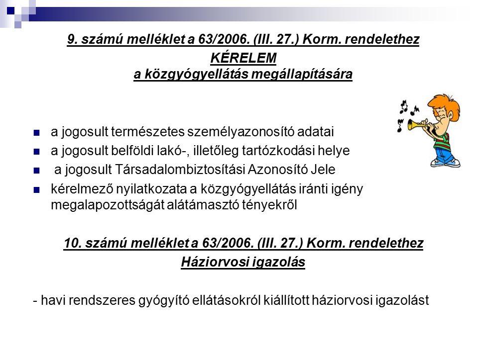 9. számú melléklet a 63/2006. (III. 27.) Korm.