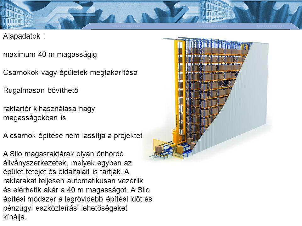 Alapadatok : maximum 40 m magasságig Csarnokok vagy épületek megtakarítása Rugalmasan bővíthető raktártér kihasználása nagy magasságokban is A csarnok