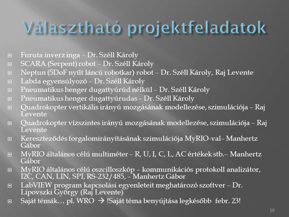  Furuta inverz inga – Dr. Széll Károly  SCARA (Serpent) robot – Dr. Széll Károly  Neptun (5DoF nyílt láncú robotkar) robot – Dr. Széll Károly, Raj