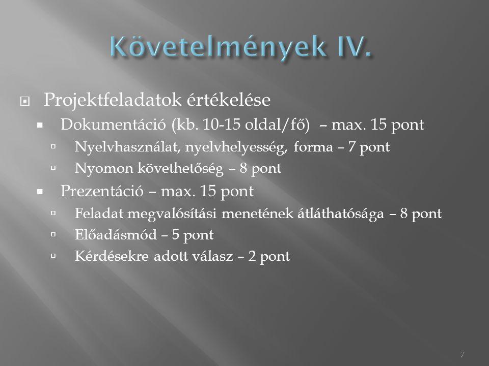  Projektfeladatok értékelése  Dokumentáció (kb. 10-15 oldal/fő) – max. 15 pont  Nyelvhasználat, nyelvhelyesség, forma – 7 pont  Nyomon követhetősé