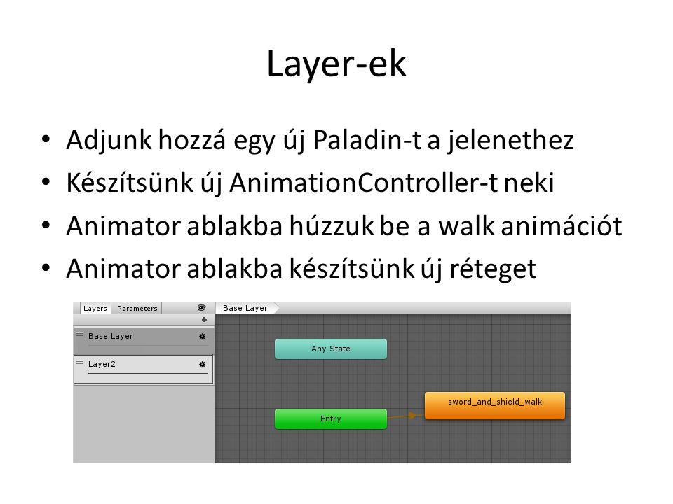 Layer-ek Adjunk hozzá egy új Paladin-t a jelenethez Készítsünk új AnimationController-t neki Animator ablakba húzzuk be a walk animációt Animator ablakba készítsünk új réteget
