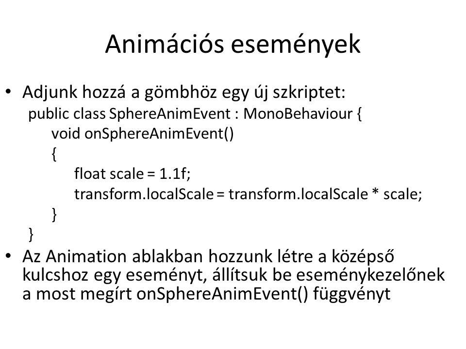 Animator Override Controller Asset nézet/jobb klikk/create/Animator Override Controller Húzzuk be az eredeti AnimatorControllert a Controllerbe Egy animációt cseréljünk ki (pl.
