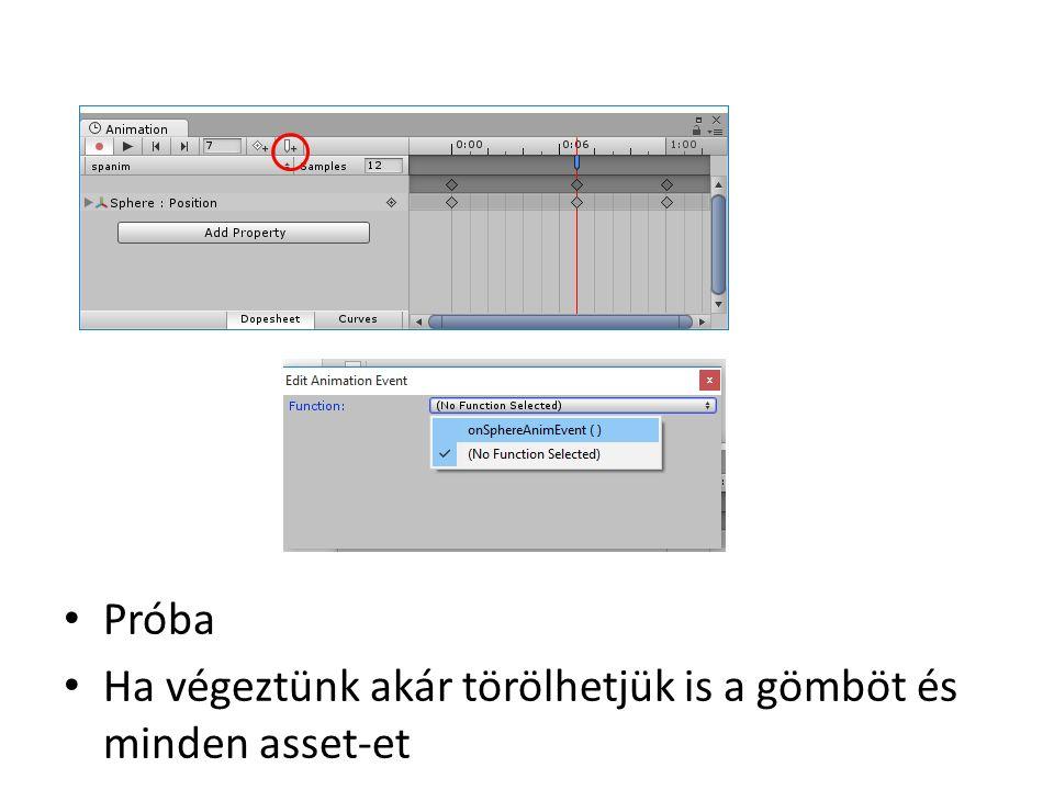 Blend Tree Animatorban jobb klikk Új blend tree Set as default state