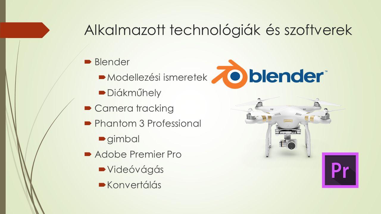 Alkalmazott technológiák és szoftverek  Blender  Modellezési ismeretek  Diákműhely  Camera tracking  Phantom 3 Professional  gimbal  Adobe Premier Pro  Videóvágás  Konvertálás