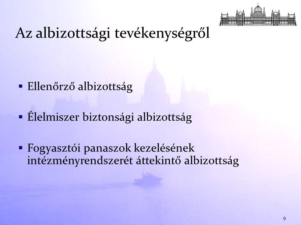 Az őszi ülésszakra vonatkozó tervek  PSZÁF 2010.