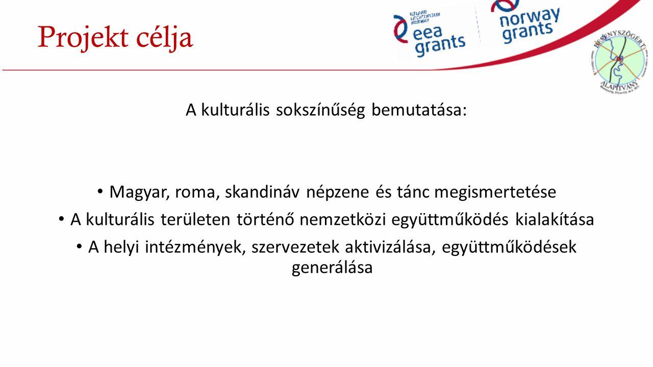 A kulturális sokszínűség bemutatása: Magyar, roma, skandináv népzene és tánc megismertetése A kulturális területen történő nemzetközi együttműködés kialakítása A helyi intézmények, szervezetek aktivizálása, együttműködések generálása Projekt célja