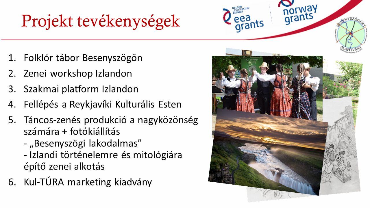 """1.Folklór tábor Besenyszögön 2.Zenei workshop Izlandon 3.Szakmai platform Izlandon 4.Fellépés a Reykjavíki Kulturális Esten 5.Táncos-zenés produkció a nagyközönség számára + fotókiállítás - """"Besenyszögi lakodalmas - Izlandi történelemre és mitológiára építő zenei alkotás 6.Kul-TÚRA marketing kiadvány Projekt tevékenységek"""