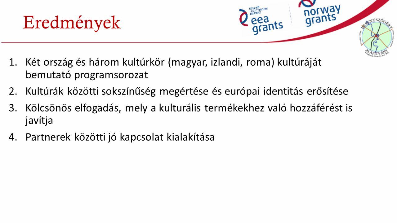 1.Két ország és három kultúrkör (magyar, izlandi, roma) kultúráját bemutató programsorozat 2.Kultúrák közötti sokszínűség megértése és európai identitás erősítése 3.Kölcsönös elfogadás, mely a kulturális termékekhez való hozzáférést is javítja 4.Partnerek közötti jó kapcsolat kialakítása Eredmények