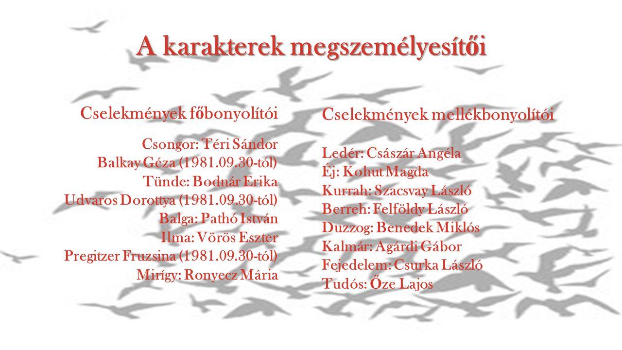 A karakterek megszemélyesítői Cselekmények f ő bonyolítói Csongor: Téri Sándor Balkay Géza (1981.09.30-tól) Tünde: Bodnár Erika Udvaros Dorottya (1981.09.30-tól) Balga: Pathó István Ilma: Vörös Eszter Pregitzer Fruzsina (1981.09.30-tól) Mirígy: Ronyecz Mária Cselekmények mellékbonyolítói Ledér: Császár Angéla Éj: Kohut Magda Kurrah: Szacsvay László Berreh: Felföldy László Duzzog: Benedek Miklós Kalmár: Agárdi Gábor Fejedelem: Csurka László Tudós: Ő ze Lajos