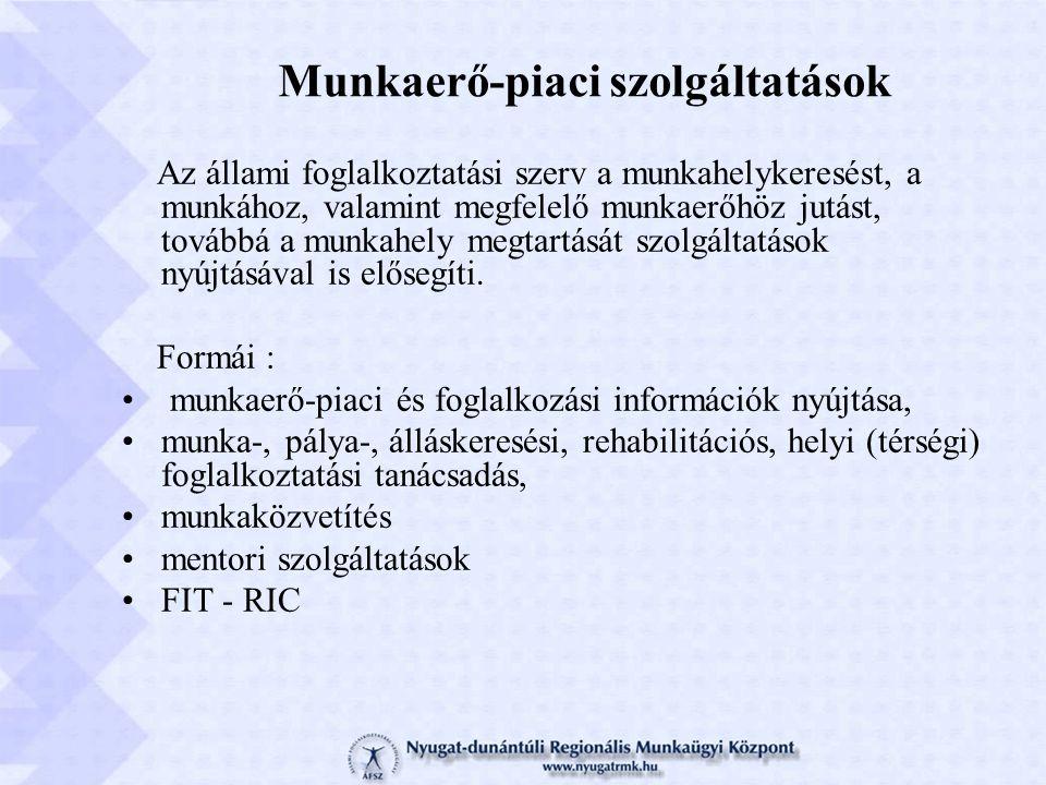 A munkaügyi szervezet szolgáltatási rendszere Többszintű szolgáltatási modell Öninformáció Információnyújtás Tanácsadás Konzultáció más szervekkel Egyéni szükségletekhez igazodó szolgáltatási szintek !